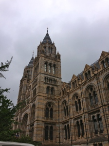 Natural History Museum and traditional English Bank Holiday weather.