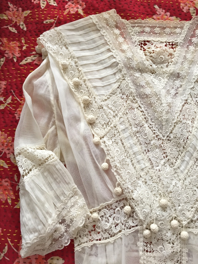 Lace Edwardian dress - bodice. This dress was a gift from a lovely lady I met at a vintage fashion show.