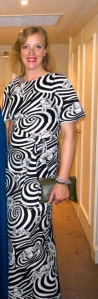 Me in a vintage op-art dress on a murder mystery weekend