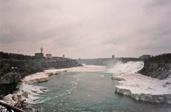 This is quite an old photo, looking back along the gorge to the Peace Bridge and the American Falls. There are a lot more buildings there now.